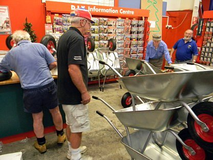 Some of our Members working at Bunnings Altona, the members assembled wheelbarrows, Barbeques and concrete Mixers in December 2010